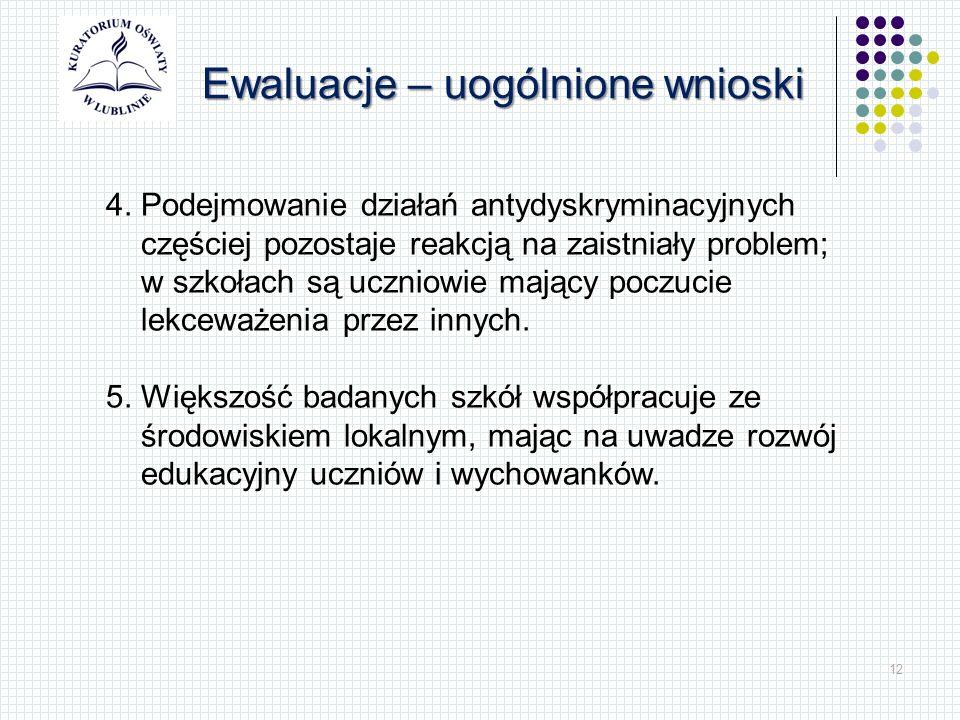 12 Ewaluacje – uogólnione wnioski 4.