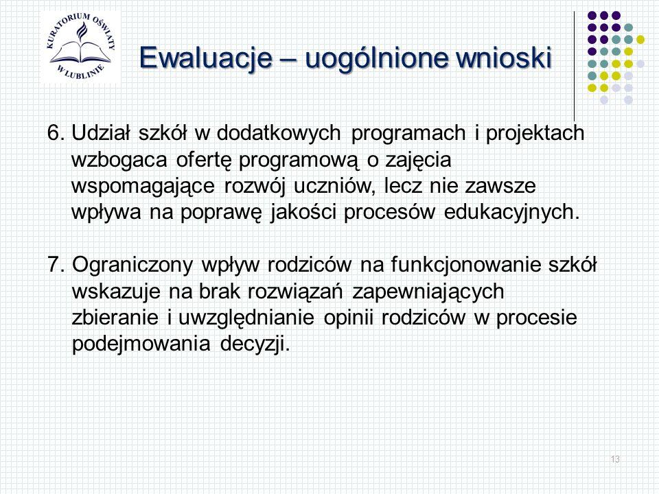 13 Ewaluacje – uogólnione wnioski 6.