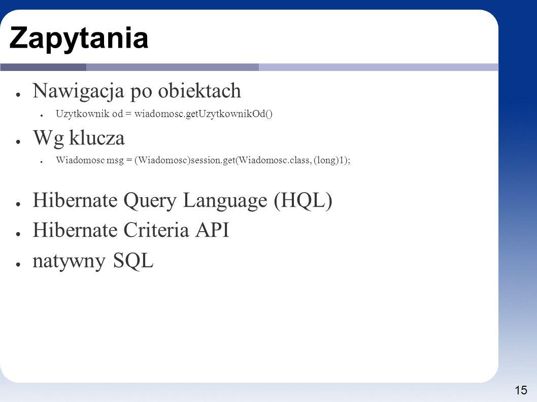 15 Zapytania ● Nawigacja po obiektach ● Uzytkownik od = wiadomosc.getUzytkownikOd() ● Wg klucza ● Wiadomosc msg = (Wiadomosc)session.get(Wiadomosc.class, (long)1); ● Hibernate Query Language (HQL) ● Hibernate Criteria API ● natywny SQL