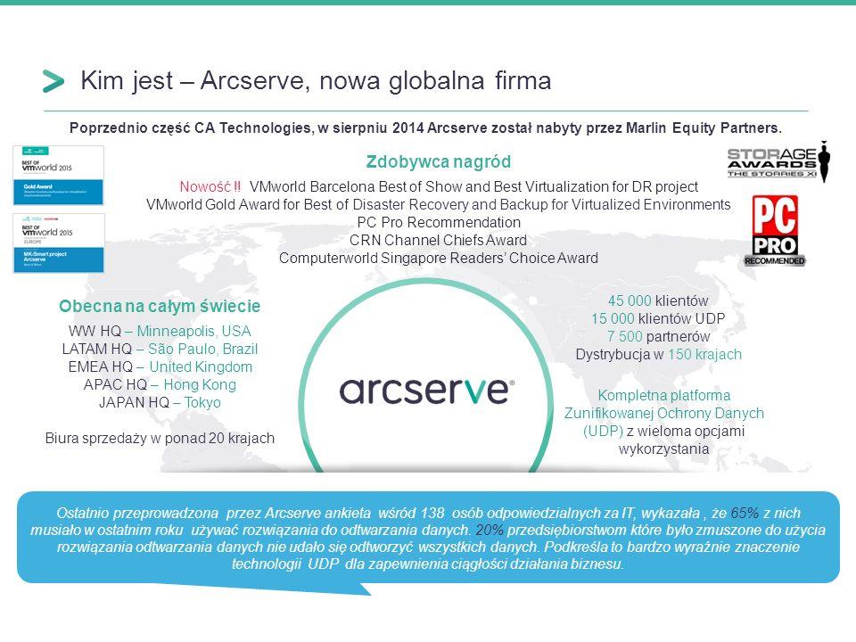 Kim jest – Arcserve, nowa globalna firma 2 Obecna na całym świecie WW HQ – Minneapolis, USA LATAM HQ – São Paulo, Brazil EMEA HQ – United Kingdom APAC HQ – Hong Kong JAPAN HQ – Tokyo Biura sprzedaży w ponad 20 krajach Poprzednio część CA Technologies, w sierpniu 2014 Arcserve został nabyty przez Marlin Equity Partners.