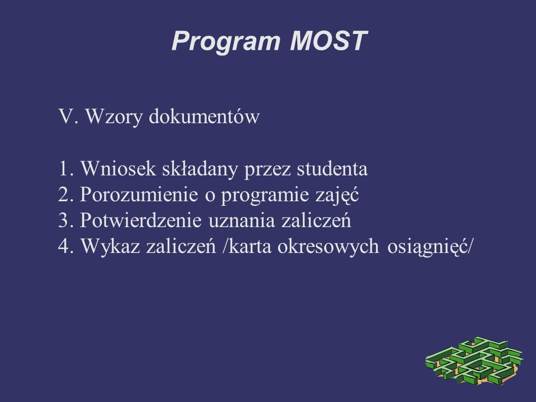 Program MOST V. Wzory dokumentów 1. Wniosek składany przez studenta 2.