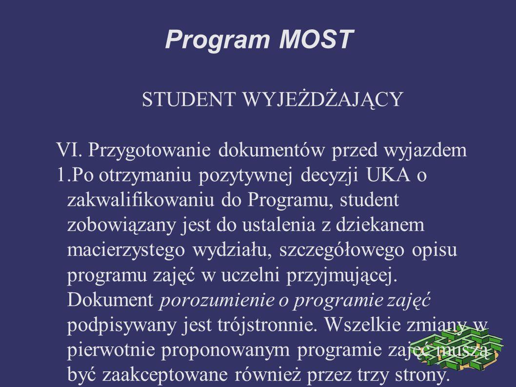 Program MOST STUDENT WYJEŻDŻAJĄCY VI.