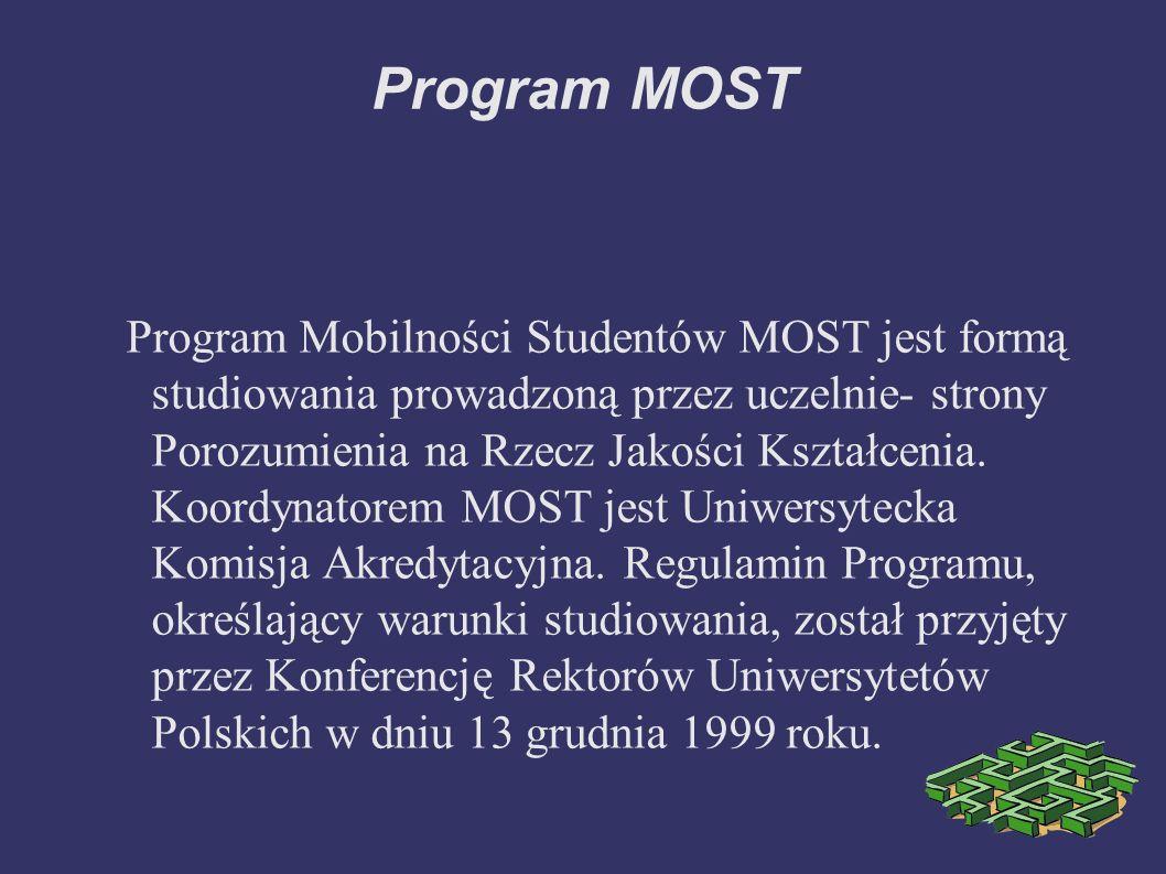 Program MOST I.Istota i cel kształcenia w systemie mobilności studentów 1.