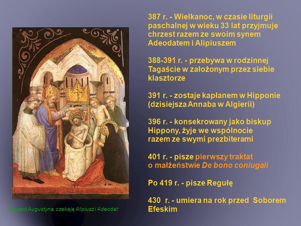 Adam i Ewa w raju ● Erunt duo in carne una – będą dwoje w jednym ciele, oznacza dla Augustyna zjednoczenie męża jako głowy i żony, tworzących w ten sposób symbolicznie jedno ciało, jeden organizm.