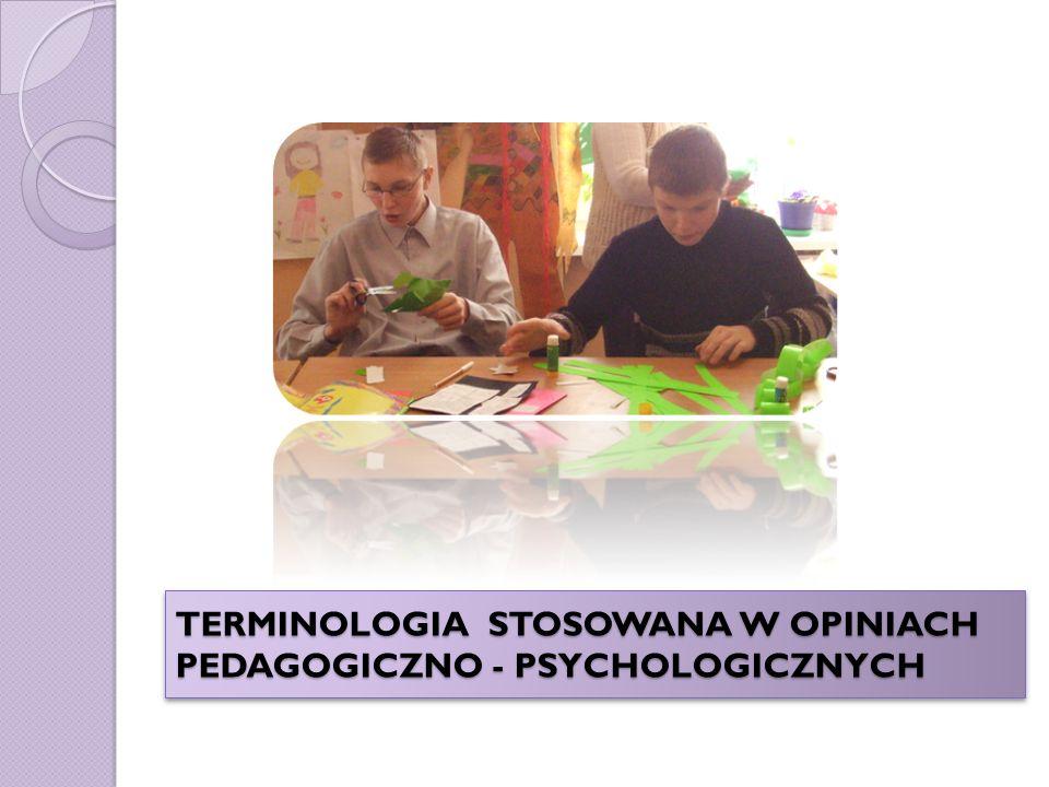 TERMINOLOGIA STOSOWANA W OPINIACH PEDAGOGICZNO - PSYCHOLOGICZNYCH