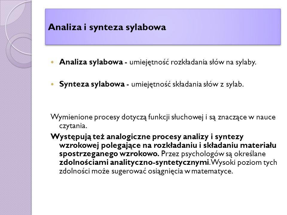 Analiza i synteza sylabowa Analiza sylabowa - umiejętność rozkładania słów na sylaby.
