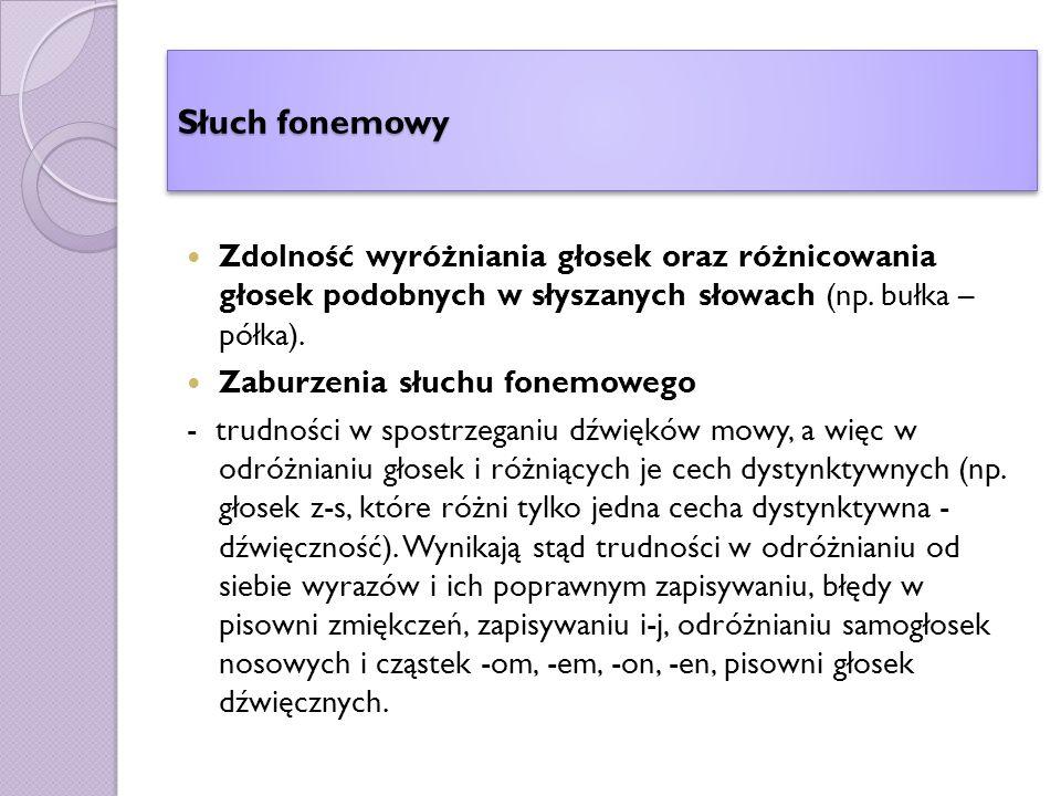 Słuch fonemowy Zdolność wyróżniania głosek oraz różnicowania głosek podobnych w słyszanych słowach (np.