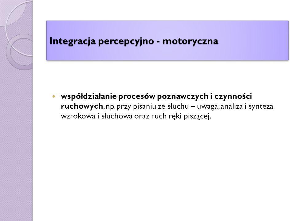 Integracja percepcyjno - motoryczna współdziałanie procesów poznawczych i czynności ruchowych, np.