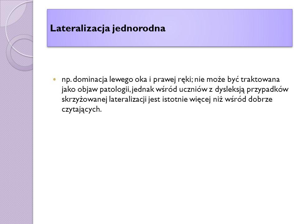 Lateralizacja jednorodna np.