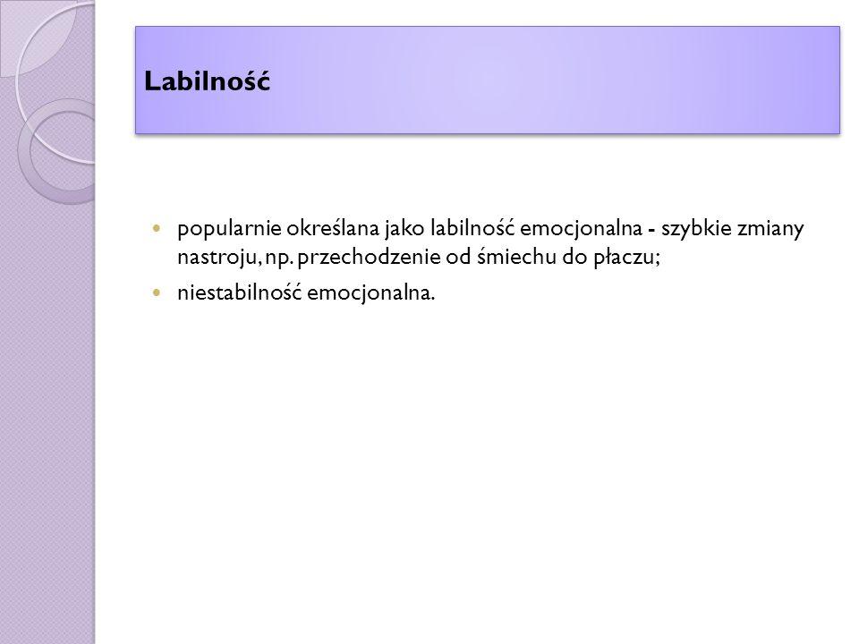 Labilność popularnie określana jako labilność emocjonalna - szybkie zmiany nastroju, np.