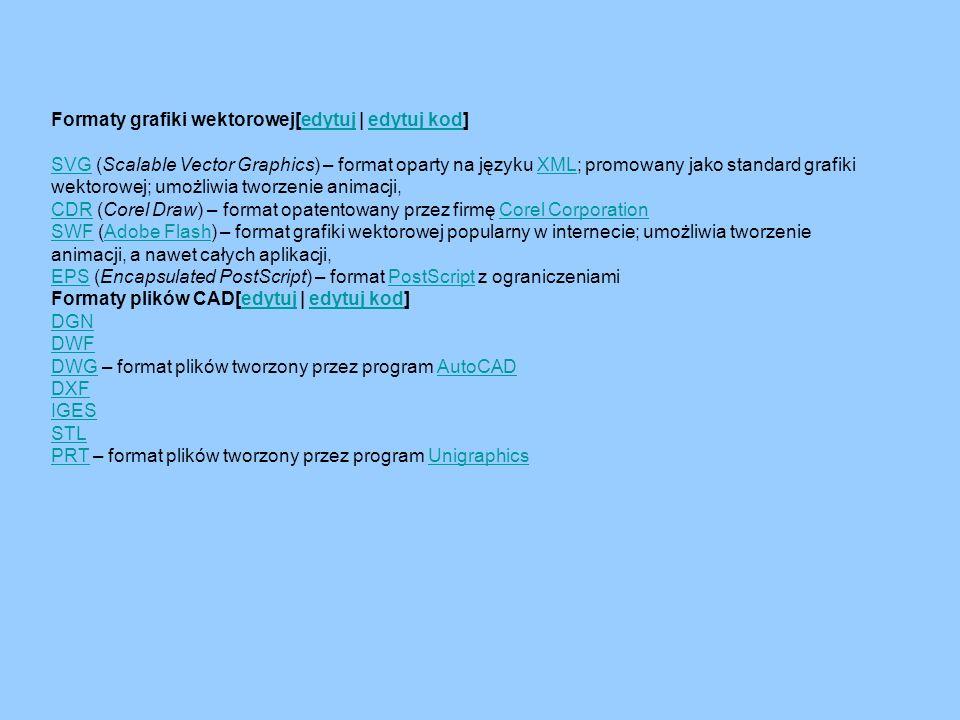 Formaty grafiki wektorowej[edytuj | edytuj kod]edytujedytuj kod SVGSVG (Scalable Vector Graphics) – format oparty na języku XML; promowany jako standa