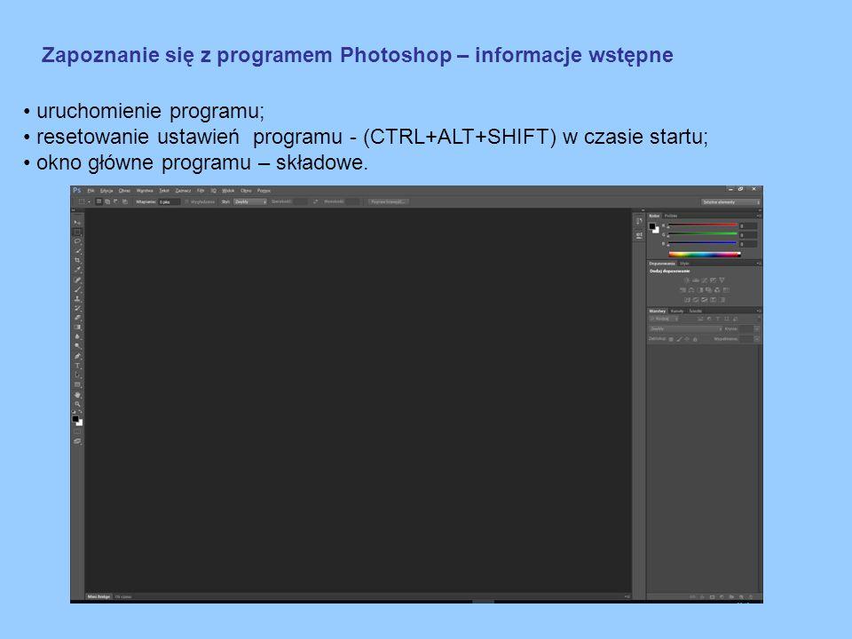 Zapoznanie się z programem Photoshop – informacje wstępne Pasek menu Pasek opcji narzędzia Przybornik z narzędziami Zakładki przeglądarki i osi czasu Panele Menu przestrzeni roboczych Obszar roboczy