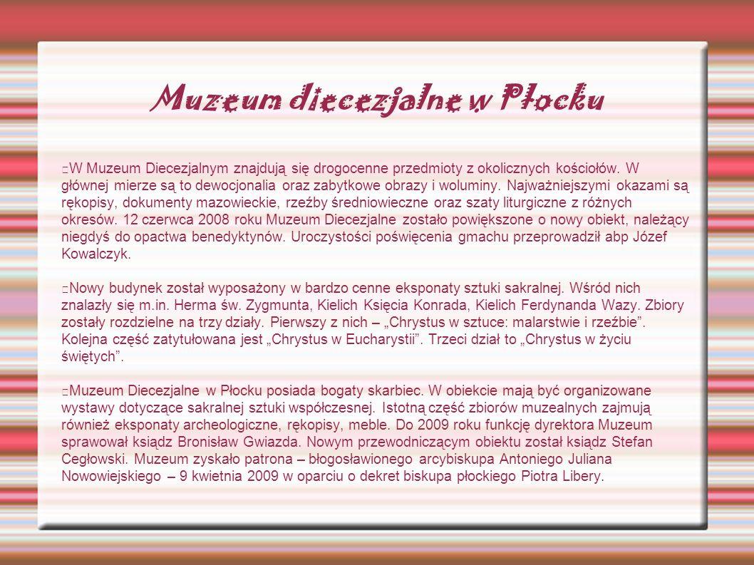 Muzeum diecezjalne w Płocku W Muzeum Diecezjalnym znajdują się drogocenne przedmioty z okolicznych kościołów. W głównej mierze są to dewocjonalia oraz