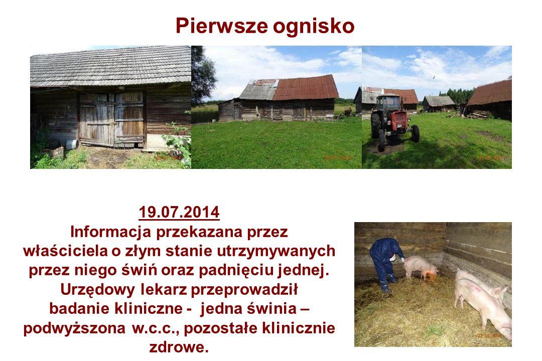 19.07.2014 Informacja przekazana przez właściciela o złym stanie utrzymywanych przez niego świń oraz padnięciu jednej.