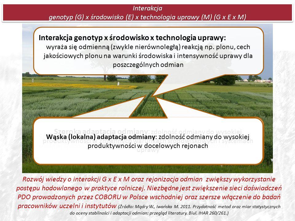 Interakcja genotyp (G) x środowisko (E) x technologia uprawy (M) (G x E x M) Rozwój wiedzy o interakcji G x E x M oraz rejonizacja odmian zwiększy wykorzystanie postępu hodowlanego w praktyce rolniczej.