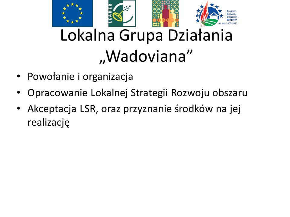 """Lokalna Grupa Działania """"Wadoviana Powołanie i organizacja Opracowanie Lokalnej Strategii Rozwoju obszaru Akceptacja LSR, oraz przyznanie środków na jej realizację"""