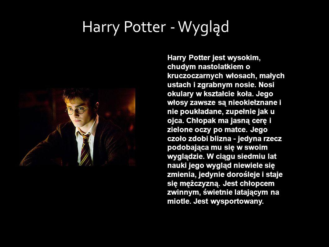 Harry Potter jest wysokim, chudym nastolatkiem o kruczoczarnych włosach, małych ustach i zgrabnym nosie.