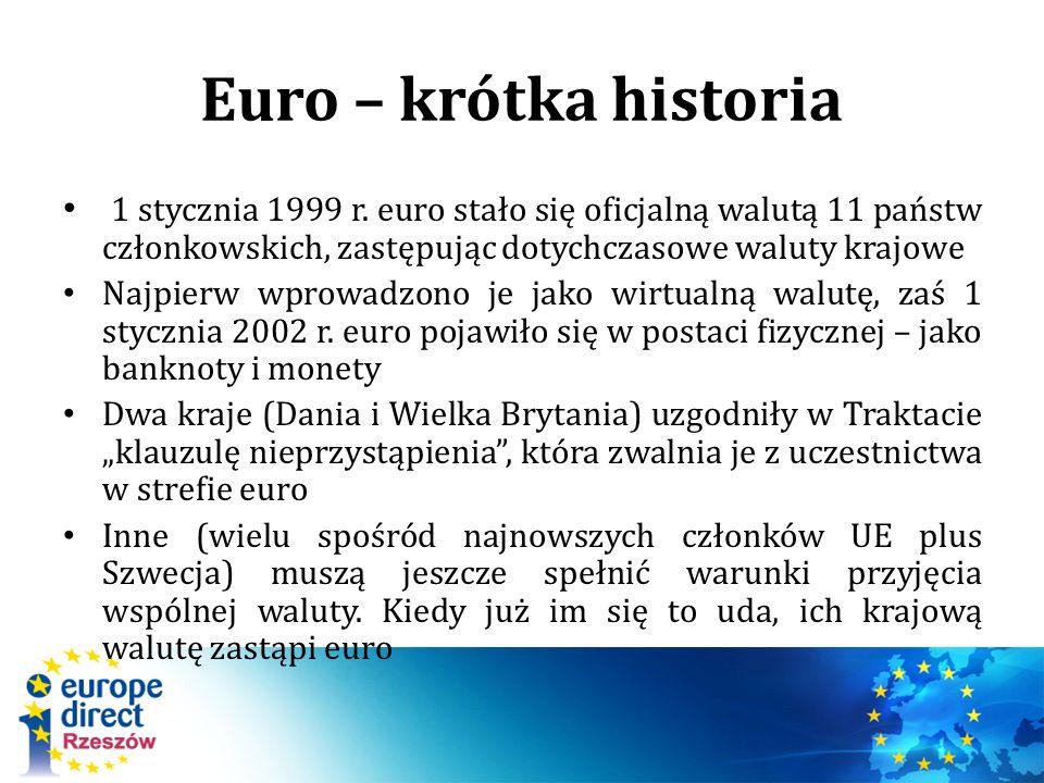 Euro – krótka historia 1 stycznia 1999 r. euro stało się oficjalną walutą 11 państw członkowskich, zastępując dotychczasowe waluty krajowe Najpierw wp