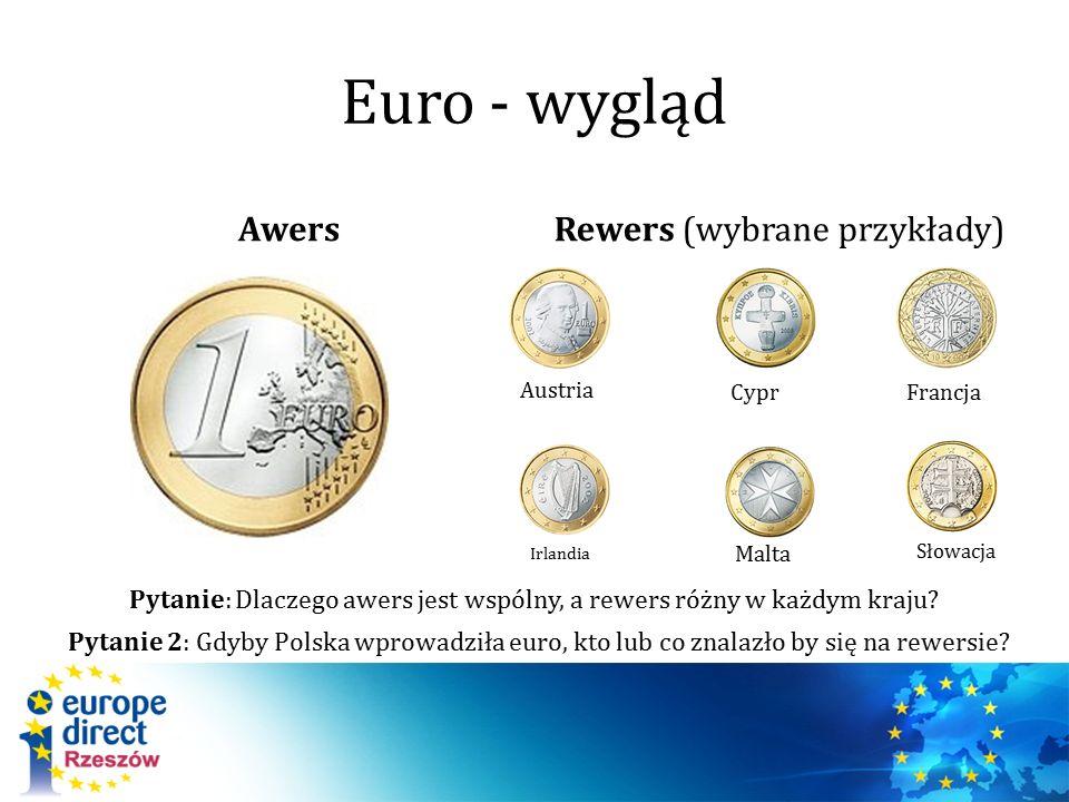Euro - wygląd AwersRewers (wybrane przykłady) Austria Cypr Francja Irlandia Malta Słowacja Pytanie: Dlaczego awers jest wspólny, a rewers różny w każd