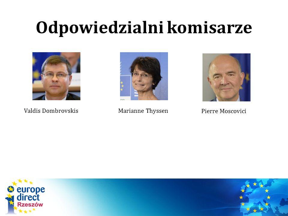 Odpowiedzialni komisarze Pierre Moscovici Valdis DombrovskisMarianne Thyssen