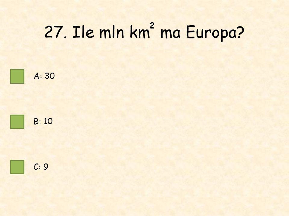 27. Ile mln km ma Europa A: 30 B: 10 C: 9 2