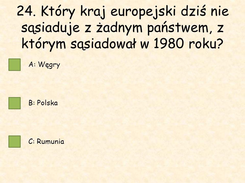 24. Który kraj europejski dziś nie sąsiaduje z żadnym państwem, z którym sąsiadował w 1980 roku.