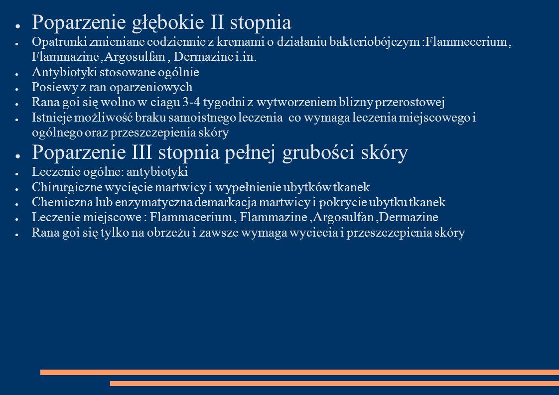 ● Poparzenie głębokie II stopnia ● Opatrunki zmieniane codziennie z kremami o działaniu bakteriobójczym :Flammecerium, Flammazine,Argosulfan, Dermazine i.in.