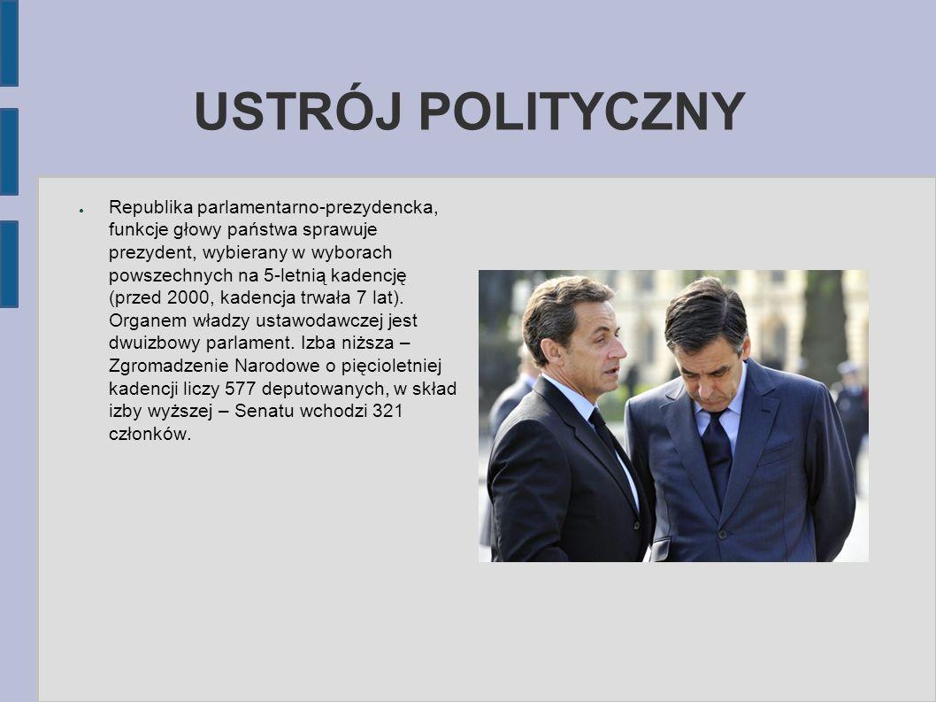 USTRÓJ POLITYCZNY ● Republika parlamentarno-prezydencka, funkcje głowy państwa sprawuje prezydent, wybierany w wyborach powszechnych na 5-letnią kaden