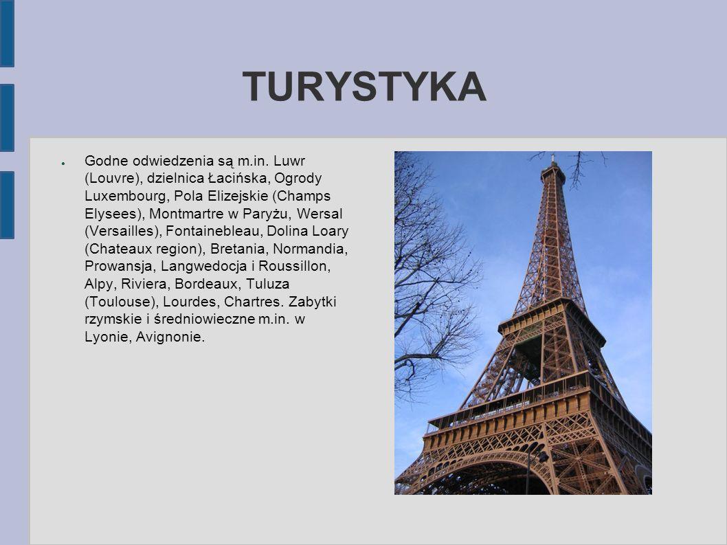 TURYSTYKA ● Godne odwiedzenia są m.in. Luwr (Louvre), dzielnica Łacińska, Ogrody Luxembourg, Pola Elizejskie (Champs Elysees), Montmartre w Paryżu, We
