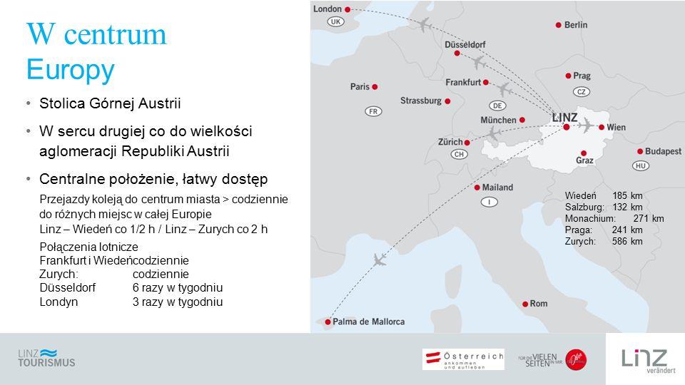 Stolica Górnej Austrii W sercu drugiej co do wielkości aglomeracji Republiki Austrii Centralne położenie, łatwy dostęp Przejazdy koleją do centrum miasta > codziennie do różnych miejsc w całej Europie Linz – Wiedeń co 1/2 h / Linz – Zurych co 2 h Połączenia lotnicze Frankfurt i Wiedeńcodziennie Zurych:codziennie Düsseldorf 6 razy w tygodniu Londyn 3 razy w tygodniu W centrum Europy Wiedeń 185 km Salzburg: 132 km Monachium: 271 km Praga: 241 km Zurych:586 km