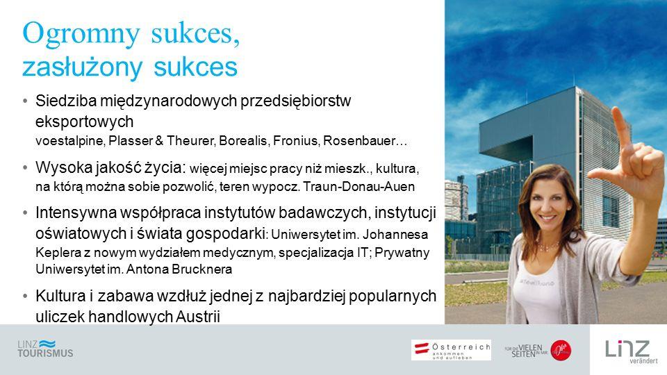 Siedziba międzynarodowych przedsiębiorstw eksportowych voestalpine, Plasser & Theurer, Borealis, Fronius, Rosenbauer… Wysoka jakość życia: więcej miej