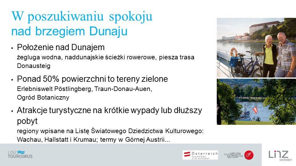 Położenie nad Dunajem żegluga wodna, naddunajskie ścieżki rowerowe, piesza trasa Donausteig Ponad 50% powierzchni to tereny zielone Erlebniswelt Pöstl