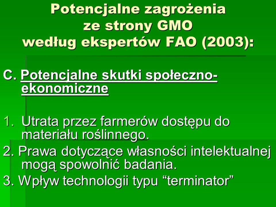 Potencjalne zagrożenia ze strony GMO według ekspertów FAO (2003): C.