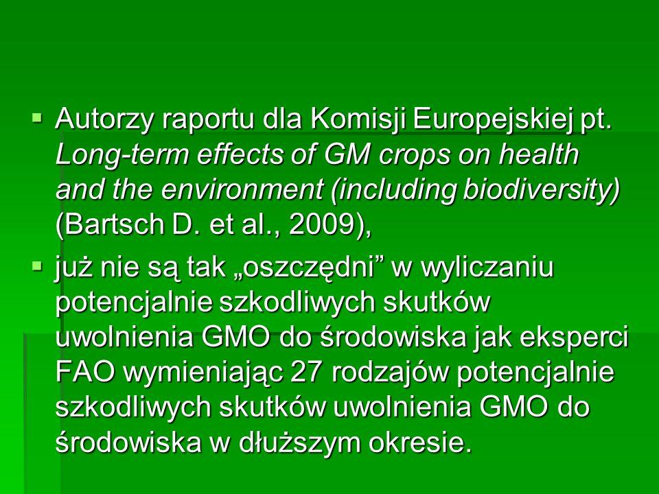  Autorzy raportu dla Komisji Europejskiej pt. Long-term effects of GM crops on health and the environment (including biodiversity) (Bartsch D. et al.