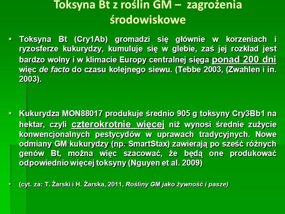  Toksyna Bt (Cry1Ab) gromadzi się głównie w korzeniach i ryzosferze kukurydzy, kumuluje się w glebie, zaś jej rozkład jest bardzo wolny i w klimacie Europy centralnej sięga ponad 200 dni więc de facto do czasu kolejnego siewu.