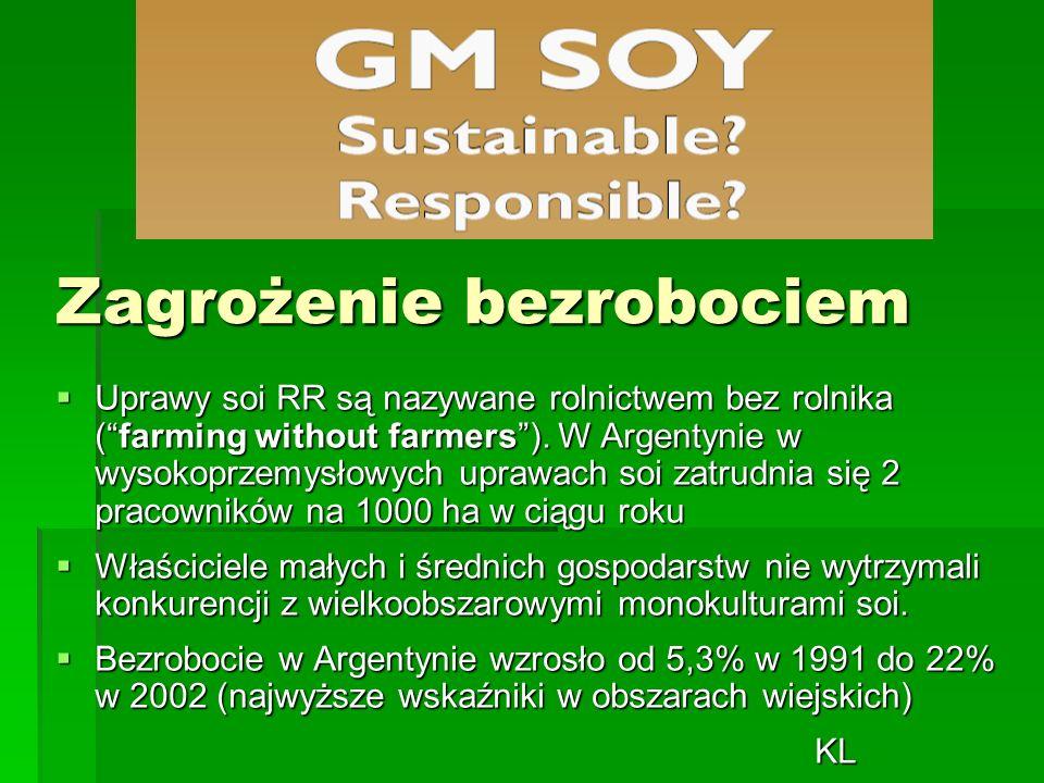 Zagrożenie bezrobociem  Uprawy soi RR są nazywane rolnictwem bez rolnika ( farming without farmers ).