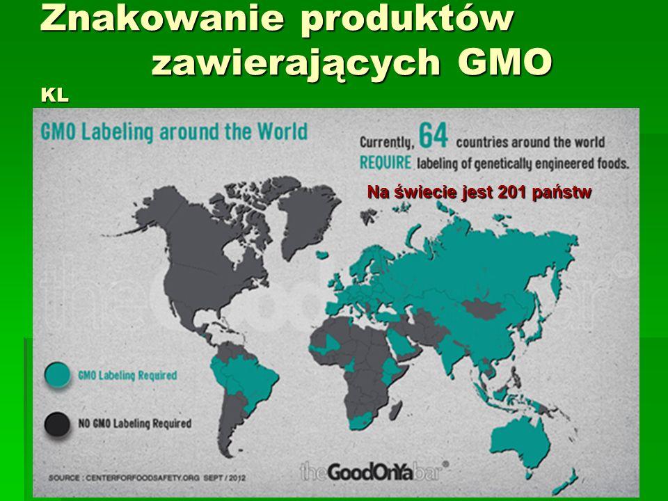 Znakowanie produktów zawierających GMO KL Na świecie jest 201 państw