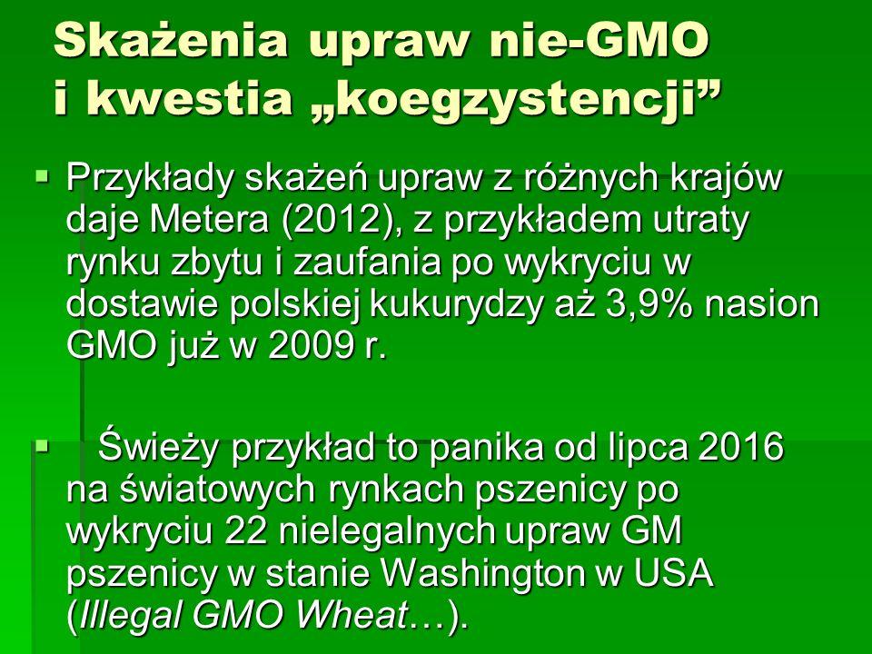 """Skażenia upraw nie-GMO i kwestia """"koegzystencji  Przykłady skażeń upraw z różnych krajów daje Metera (2012), z przykładem utraty rynku zbytu i zaufania po wykryciu w dostawie polskiej kukurydzy aż 3,9% nasion GMO już w 2009 r."""