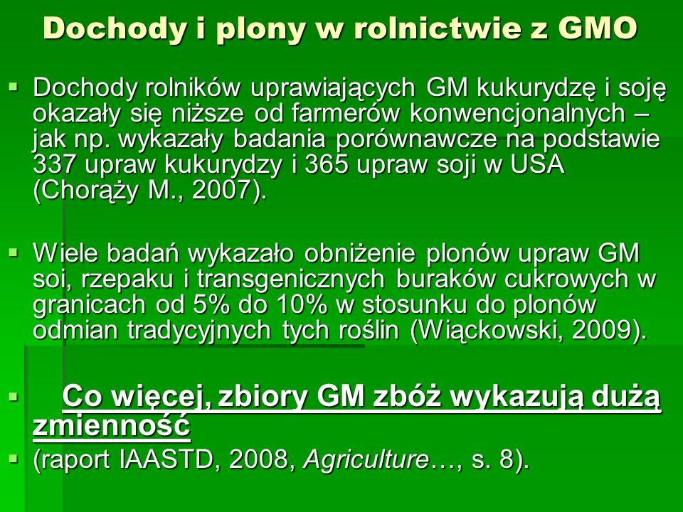 Dochody i plony w rolnictwie z GMO  Dochody rolników uprawiających GM kukurydzę i soję okazały się niższe od farmerów konwencjonalnych – jak np.