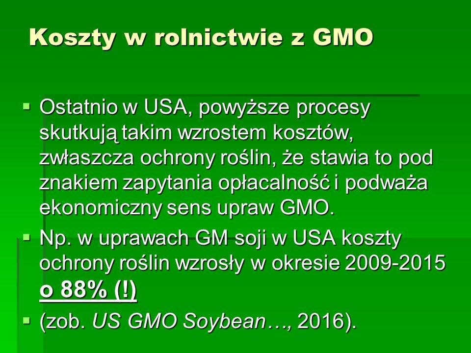 Koszty w rolnictwie z GMO  Ostatnio w USA, powyższe procesy skutkują takim wzrostem kosztów, zwłaszcza ochrony roślin, że stawia to pod znakiem zapytania opłacalność i podważa ekonomiczny sens upraw GMO.