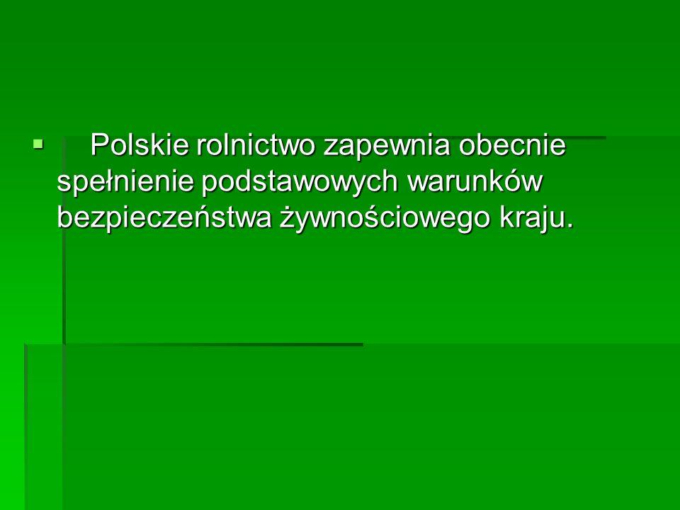  Polskie rolnictwo zapewnia obecnie spełnienie podstawowych warunków bezpieczeństwa żywnościowego kraju.