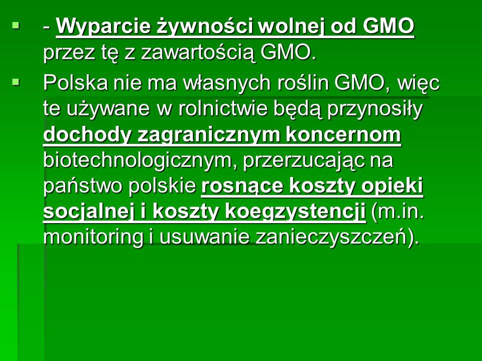  - Wyparcie żywności wolnej od GMO przez tę z zawartością GMO.