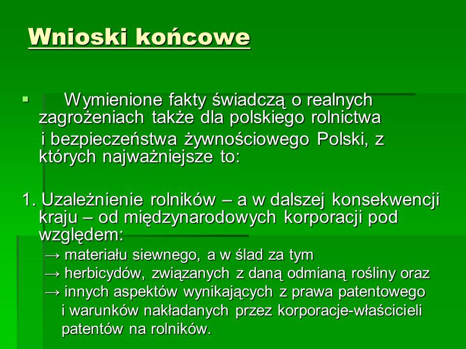 Wnioski końcowe  Wymienione fakty świadczą o realnych zagrożeniach także dla polskiego rolnictwa i bezpieczeństwa żywnościowego Polski, z których najważniejsze to: i bezpieczeństwa żywnościowego Polski, z których najważniejsze to: 1.
