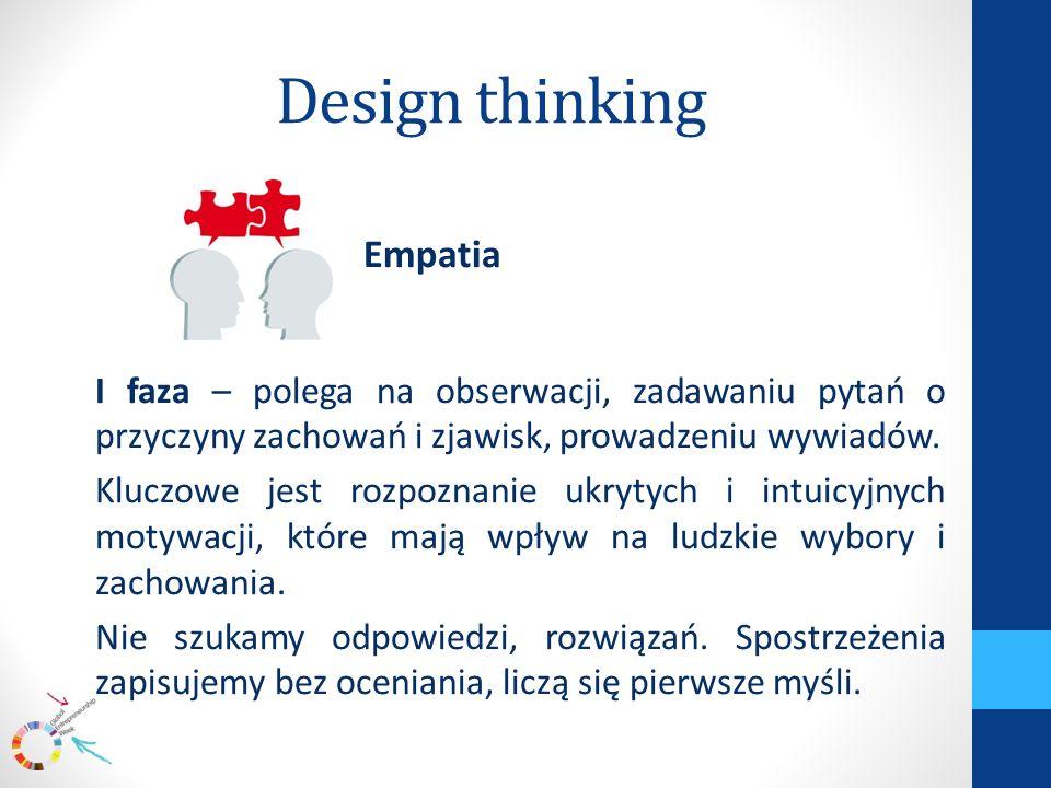 Design thinking Empatia I faza – polega na obserwacji, zadawaniu pytań o przyczyny zachowań i zjawisk, prowadzeniu wywiadów.