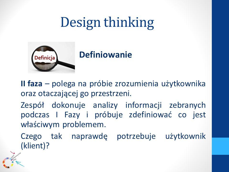 Design thinking Definiowanie II faza – polega na próbie zrozumienia użytkownika oraz otaczającej go przestrzeni.
