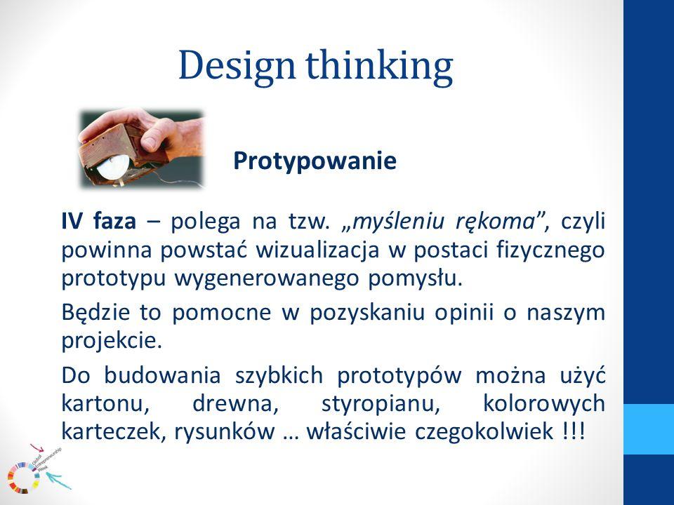 Design thinking Protypowanie IV faza – polega na tzw.