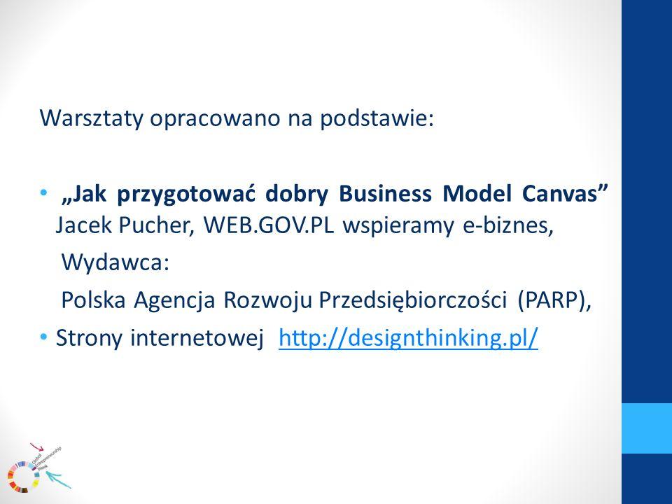 """Warsztaty opracowano na podstawie: """"Jak przygotować dobry Business Model Canvas Jacek Pucher, WEB.GOV.PL wspieramy e-biznes, Wydawca: Polska Agencja Rozwoju Przedsiębiorczości (PARP), Strony internetowej http://designthinking.pl/http://designthinking.pl/"""