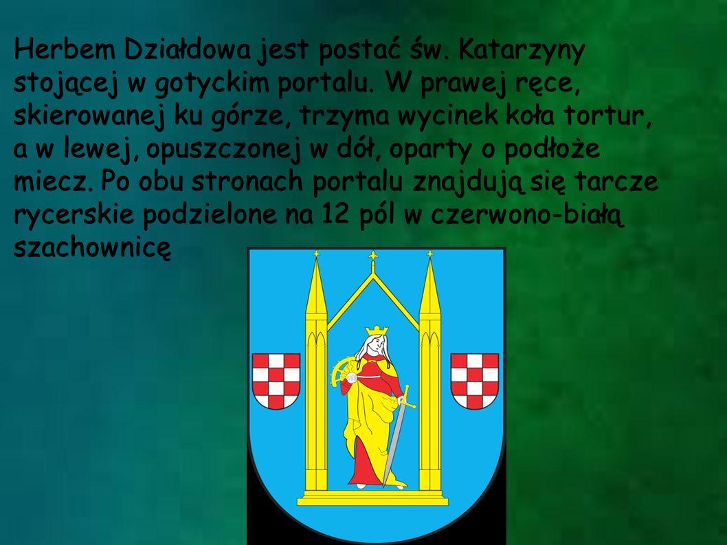 Herbem Działdowa jest postać św. Katarzyny stojącej w gotyckim portalu. W prawej ręce, skierowanej ku górze, trzyma wycinek koła tortur, a w lewej, op