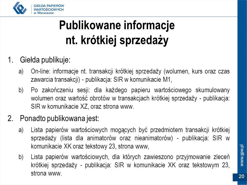 20 Publikowane informacje nt. krótkiej sprzedaży 1.Giełda publikuje: a)On-line: informacje nt.
