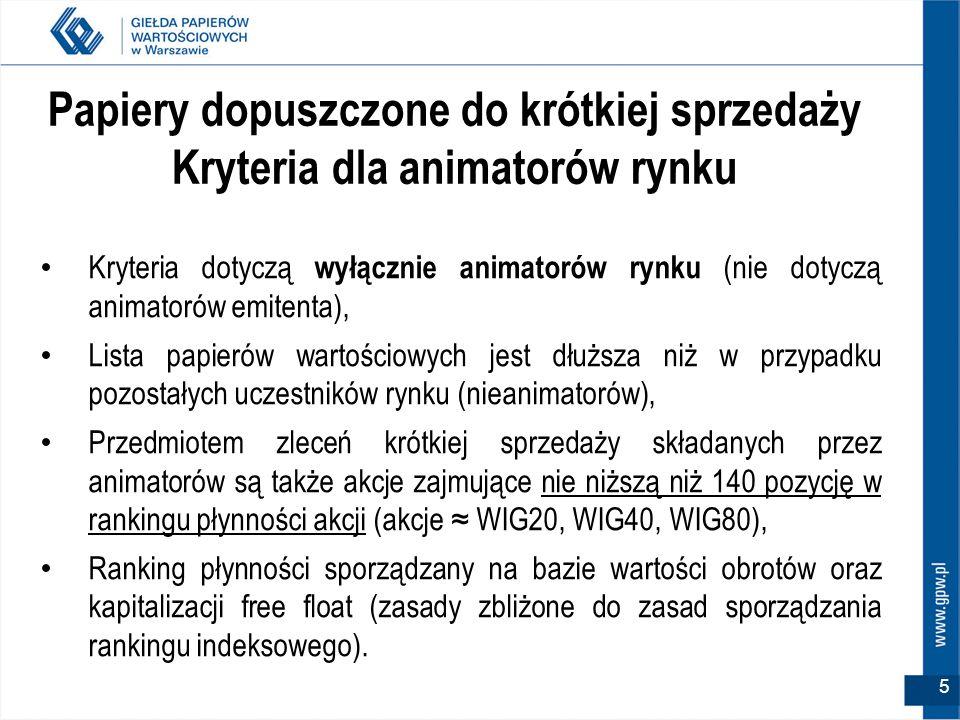 6 Publikacja listy papierów Publikowane są 2 listy papierów dopuszczonych do krótkiej sprzedaży: – Podstawowa lista papierów (lista papierów dla nieanimatorów) oraz, – Lista papierów dla animatorów.
